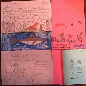 Franklin Elementary School in Port Angeles, Washington sent these wonderful thank you notes after Sy's visit